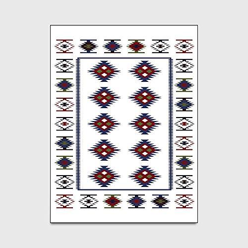 JKCKHA Antideslizante Manta de área de Suave Cubierta de alfombras Mat Moda étnica Dormitorio Estilo geométrico Sencillez Blanco Azul Sala Puerta Mat Antideslizante de Noche Alfombra Alfombra de Piso