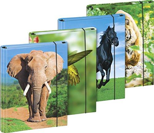 Brunnen 1041626 Heftbox (für A5, aus Karton, mit Gummizug, 4 Tiermotive)
