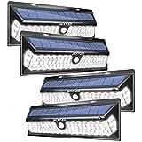 Solar Motion Sensor Lights Outdoor JACKYLED Super Bright 118 LED Porch Lights with Larger Solar Panel Waterproof Wireless Wall Mount Security Lighting for Garden Yard Garage Front Door 4-Pack,