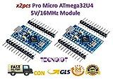TECNOIOT - 2 módulos Pro Micro ATmega32U4 5 V/16 MHz con Pin Header para Arduino Leonardo - 2 Unidades Pro Micro Atmega 32u4 5 V/16 MHz - Módulo de Tarjeta Micro Controlador USB para Arduino Leonardo