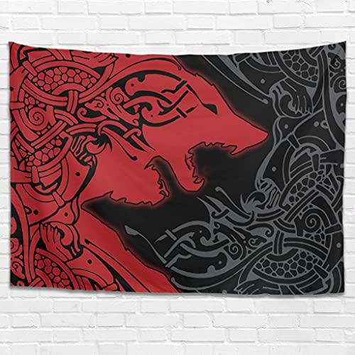 Tapiz de pared con runas vikingas y lobo, decoración de pared, para dormitorio, salón, como toalla de playa, manta de picnic, color blanco, 150 x 130 cm
