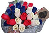 The Original Wooden Rose Patriotic Holiday Flowers RED, White, and Blue Fourth of July Memorial Day Presidents Day (2 Dozen)