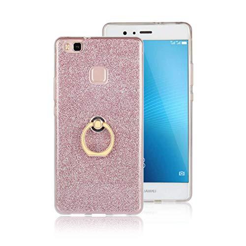 Ycloud Morbido TPU Silicone Custodia per Huawei P9 Lite 2016 Smartphone, Glitter Brillantini Bling Cover con Fibbia ad Anello Staffa Slim Antiurto Caso (Rosa)