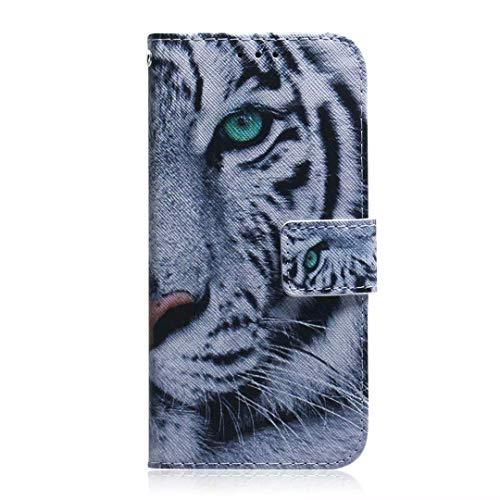 vingarshern Hülle für Huawei Nova 5T Schutzhülle Etui Klappbares Magnetverschluss Lederhülle Flip Hülle Handytasche Huawei Nova 5T Hülle Leder Brieftasche Tasche MEHRWEG(Tiger)