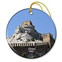 要塞ジェノヴァイタリアクリスマスオーナメントセラミックシート旅行お土産ギフト