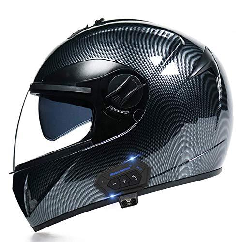HYRGLIZI Casco Integral de Motocicleta con Bluetooth Integrado Cascos de Motocross ATV con visores Dobles HD Casco de Motocicleta de Carreras de Cara Completa Diseño liviano para Hombres Mujeres Apro