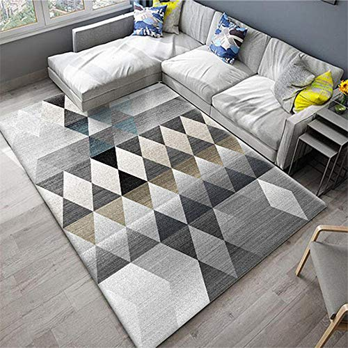 DJHWWD Hygroscopisch tapijt, klassiek vierkant grijs patroon, anti-vlekken, voor de woonkamer, anti-slip tapijt, waterabsorberend, duurzaam