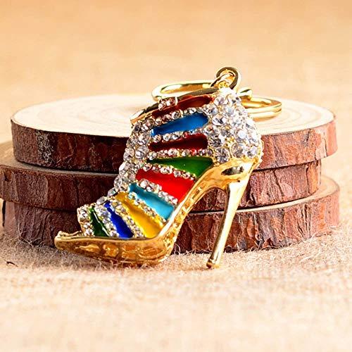 YTRQ Kreative High Heel-Schuhe Zink-Legierung Schlüsselanhänger Strass Schlüsselanhänger Frauen-Handtaschen-Schlüssel-Halter-Auto-Verzierung Zubehör (Color Name : Gold Colorful)