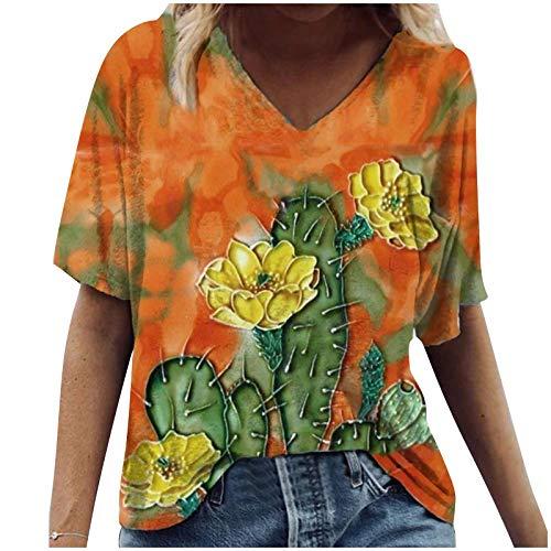 YAAY Camiseta casual de manga corta con cuello en V para mujer, diseño de flor de loto y estrella de mar