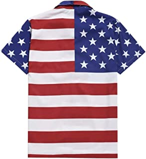 Men's T-Shirt Short Sleeve Slim Fit Lapel Casual Shirts Summer Flag Printed Independence Day Fashion Blouse