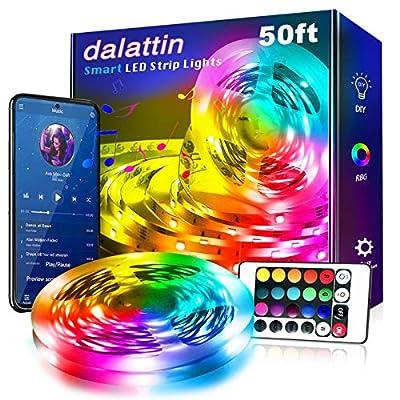 Led Lights for Bedroom Smart 50ft,1 Roll 50ft,Dalattin Smart Led Strip Lights with App Control Remote, 5050 RGB Led Light Strips, Music Sync Color Changing Lights for Room Decoration Party
