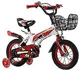 YYhkeby Bicicletas niños Bicicleta 12,14 Pulgadas de Niños, con Auxiliar Ruedas, Soporte, adecuados for niños y niñas 2-5 años, Entrenamiento for Bicicleta (Color: Azul, Tamaño: 12 Pulgadas) Jialele