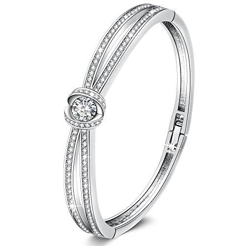 GEORGE · SMITH Bracciale da donna, Bracciale rigido in argento per donna Mamma Figlia Moglie Oro rosa / bianco con diamante cubico 5A Regalo per la festa della mamma Compleanno Anniversario