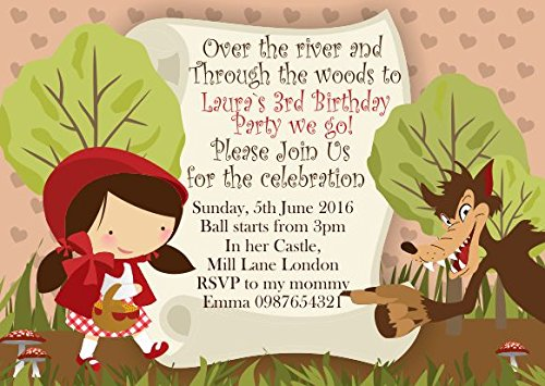10 x le petit chaperon rouge personnalisé enfants Fête d'anniversaire Invitations ou cartes de remerciement