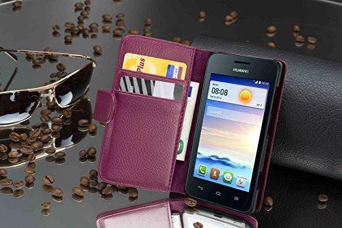 Cadorabo Hülle für Huawei Ascend Y330 - Hülle in Bordeaux LILA – Handyhülle mit Kartenfach aus struktriertem Kunstleder - Case Cover Schutzhülle Etui Tasche Book Klapp Style - 3