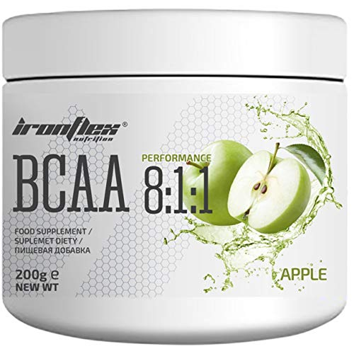 IronFlex BCAA 8:1:1-1 Pack - Branched Chain Amino Acids in Powder - Muscle Regeneration - Anticatabolic (Apple, 200g)