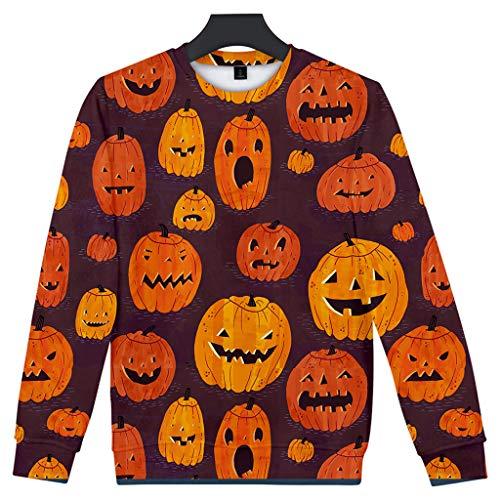 ZZBO Herren Halloween Pullover 3D Kürbisse Druck Sweatshirt Pulli Lässiger Langarm Rundhals Tops Jumper Langarmhemd Winter Langarmshirt für Sport Freizeit Zuhause XS-XXXXL