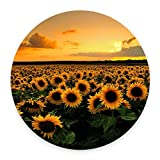 Sunflower Mousepad, Floral Mouse pad, Circle Mousepad, Round Mousepad