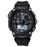 Ohsen AD1209 Digital Quartz Wrist Waterproof Mens Dual Time Sports Watch with Date/Alarm/Stopwatch (Black)