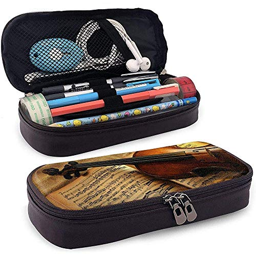 Music Note Violin PU Leather Pen Pen Bag 20 * 9 * 4 cm (8X3.5X1.5 Inches) Pouch Case Holder High School Coin Purse Cosmetic Bag