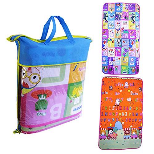 Tapete Atividades Infantil Bolsa 180x120 Colorido Emborrachado e Térmico com bolsa para transporte centro de atividades bebes crianças bolsa cor azul
