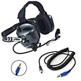 Rugged Radios H41-CF Carbon Fiber Style Behind The Head Intercom Headset with CC-Off Coil Cord Adapter for Offroad Jacks & Intercoms