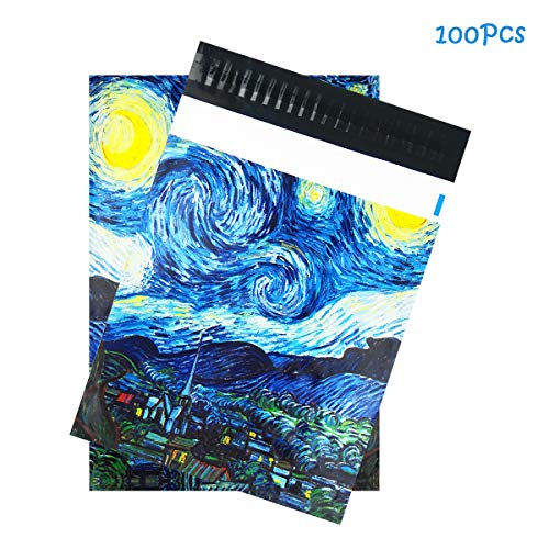 """M&C Music Color 100 Pack Starry Night Poly Mailers, 10"""" X 13"""" Envelopes Plastic Custom Mailing Shipping Bags, Poly Mailer Envelope with Self Seal Adhesive Strip - Waterproof & Tear-Proof"""