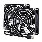 Wathai 80mm x 80mm x 25mm USB Fan 5V for Computer Laptop Router DVR Xbox Cooling 2 Packs