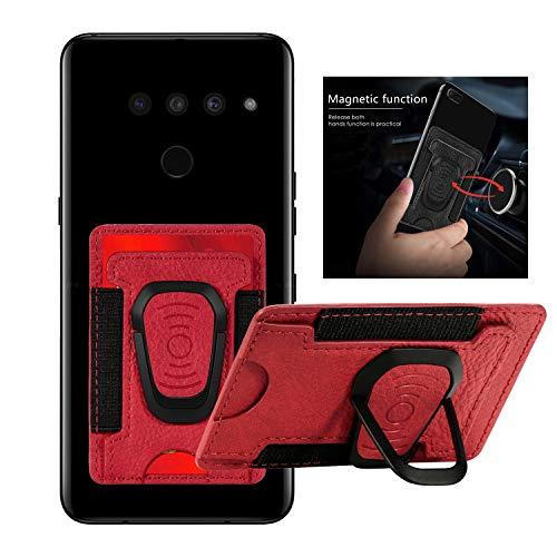 DAMONDY Schutzhülle für LG K51, Kreditkartenfächer, elastisches Design, 3M-Klebefolie, Ständer, magnetisch, für LG K51, Rot