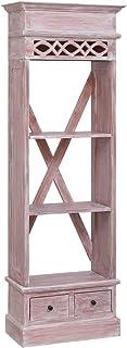 Tidyard Aparador de Madera Maciza de Caoba 60x30x180 cmcon 3 Compartimentos Abiertos y 2 cajones