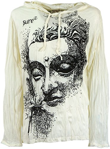 GURU SHOP Sure Langarmshirt, Kapuzenshirt Dreaming, Herren, Weiß, Baumwolle, Size:M, Bedrucktes Shirt Alternative Bekleidung
