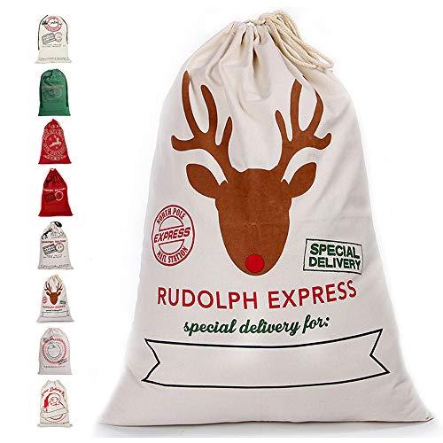Enjoygoeu Weihnachtsmann Sack Groß Santa Sack Weihnachtssack Nikolaussack Gabensack Weihnachtsdekoration Weihnachtssack Jute Geschenkbeutel Weihnachten für Kinder (White Express)