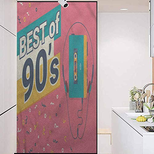 wonderr OfficeSelf-AdhesiveHomeWindowFilm, 90s Best of 90s Cassette Player, Living Room Bedroom Kitchen Lobby Porch Office, W23.6xH47.2 Inch