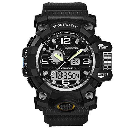 WDFDZSW Deportes de los hombres del reloj calendario que muestra las manos luminosas, reloj de los deportes de agua (Negro) Resistente al aire libre de fácil lectura militares de nuevo la luz negros g