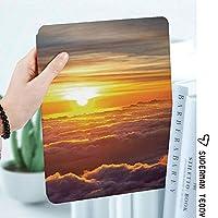 iPad 2/3/4 対応 2つ折りケース スタンド機能 オートスリープ超薄型 傷つけ防止ケース 手帳型カバー 環境にやさしい材質雲の上の夕焼けの風景想像上の秘密の天気