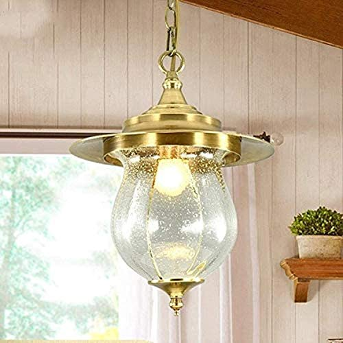 Lámpara colgante americana de metal envejecido, para exteriores, con luz IP65, pergola de jardín de latón cepillado, lámpara colgante de cristal, pérgola Porch, iluminación E27