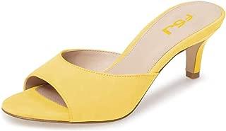 Women Comfort Low Heel Mules Peep Toe Slide Sandals Slip On Dress Pump Shoes Size 4-15 US