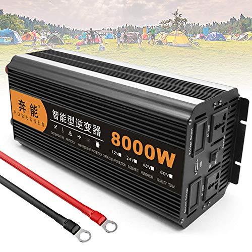 J-Love Inversor de energía de Onda sinusoidal Pura 3200W 4000W 5000W 6000W 8000W 9000W 12000W 15000W Convertidor DC 12V/24V a 220V 230V 240V AC Outlets Inversor de Coche con Puerto USB para Viajes