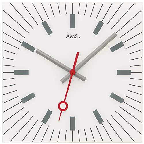 AMS - Quarzuhr - Wanduhr - viereckig - weiß bedrucktes Zifferblatt - schleichende Sekunde (geräuscharm) rot