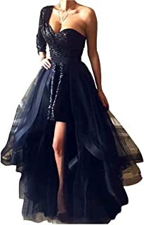 Prom Dress Black Sequined Short Prom Dresses with Detachable Skirt 2019 Long Sleeves Evening Dresses Party Gowns