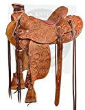 Manaal Enterprises Wade Tree A Fork Premium Western Leather Roping Ranch Work Horse Saddle Size 14 to 18 Inches Seat (15.5' Inches Seat)