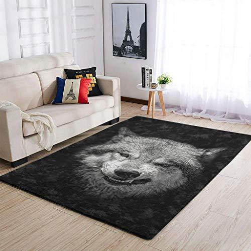 Yrgdskuvle Alfombra de salón con diseño de lobo gris, elegante, muy suave, para dormitorio, puerta de casa, color blanco, 50 x 80 cm