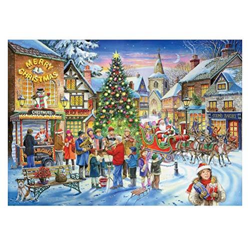 1000 Piezas de Puzzle de Navidad, Árbol de Navidad Feliz Año Nuevo Feliz Navidad Paisaje DIY Puzzle, Juego de Desafío, Alivio del Estrés, Juguete Educativo, Decoración del Hogar, Regalo, 70x50 cm