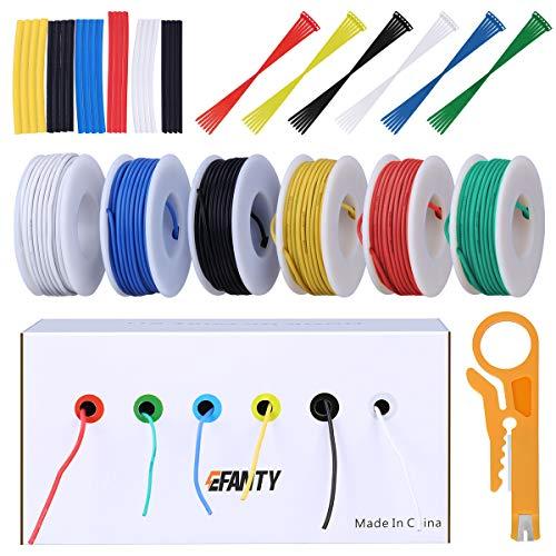 Filo elettrico 22 AWG elettrico kit cavi di collegamento filo in rame stagnato flessibile silicone calibro 22 (6 diverse bobine colorate da 10 metri) con filo a trefoli da 600 V