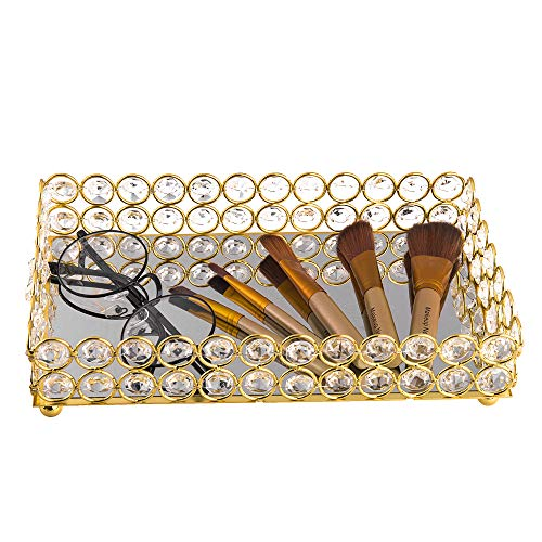 Feyarl Crystal Mirrored Cosmetic Tray Vanity Rectangle Jewelry Trinket Organizer Tray Decorative Tray Storage Home Deco Wedding Dresser Birthday Gift Gold Buy Online In South Africa Feyarl Products In South Africa