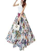 Afibi Women Floral Print Pleated Vintage Chiffon Long Maxi Skirt (XXX-Large, S-123)