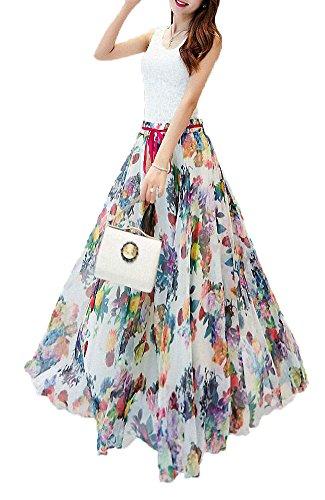 Afibi Women Floral Print Pleated Vintage Chiffon Long Maxi Skirt (X-Large, S-123)