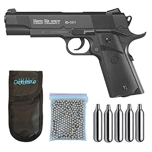 Outletdelocio., Pistola Perdigón Gamo Red Alert RD-1911. Calibre 4,5mm BBS, Funda Portabombonas,...
