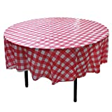 YUEKUI 10 Pack Plastic Table Covers-Red & White Gingham...