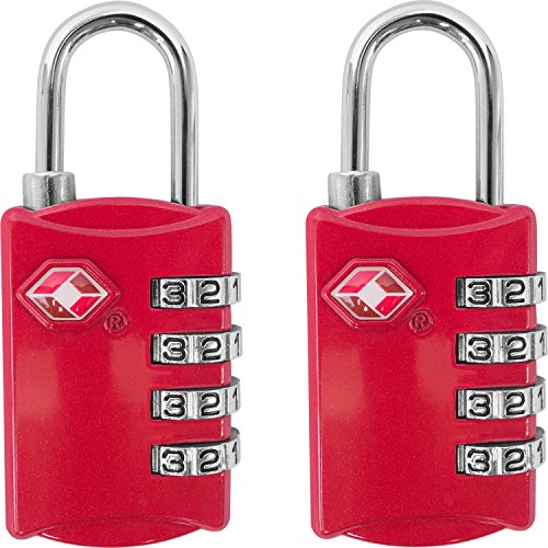 TSA Luggage Locks (2 Pack) - 4 Digit Combination Steel Padlocks - Approved Travel Lock for Suitcases...